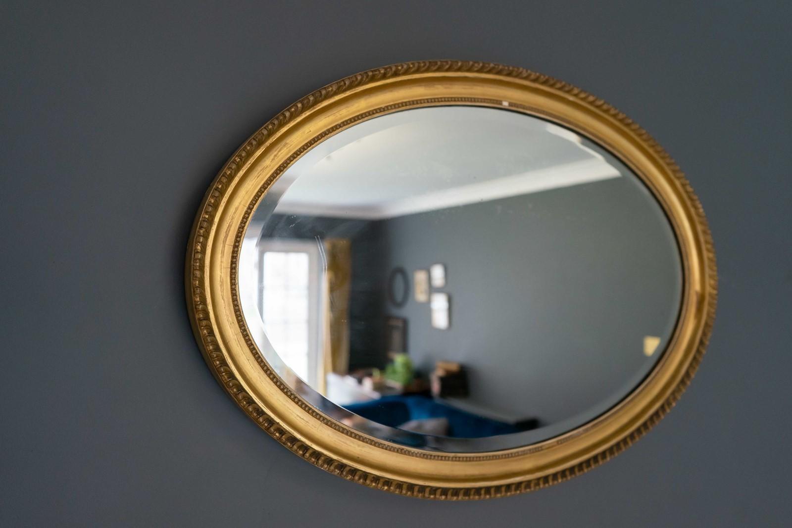 gilt brass round vintage antique wall mirror
