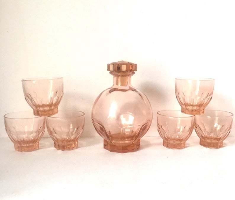 vintage glasses shot decanter art deco pink gifts for her