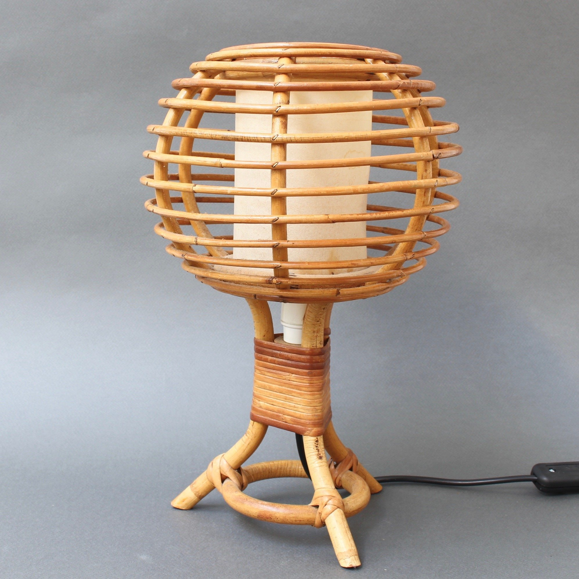 rattan boho bohemian lighting vintage table lamp