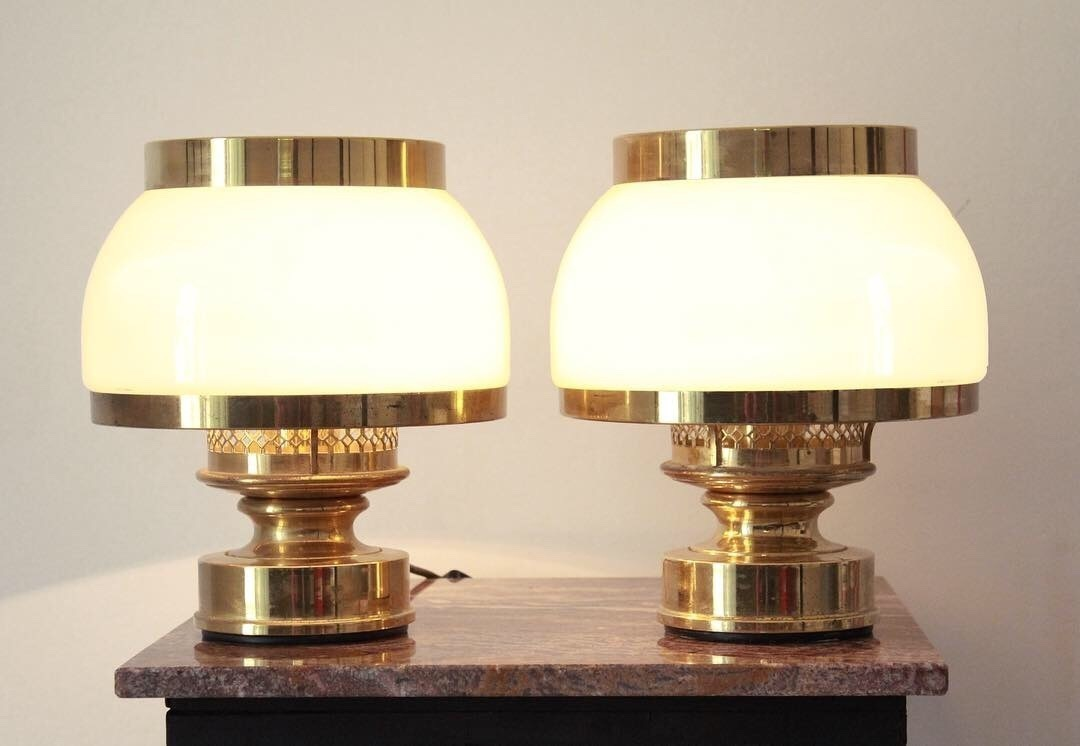 brass vintage antique victorian maximalist table lamps