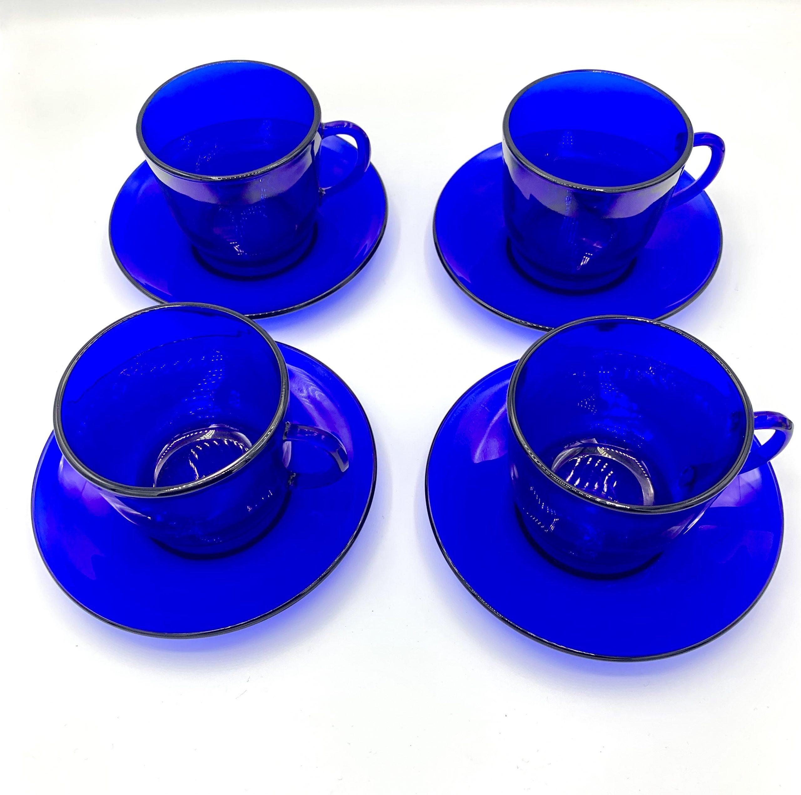 blue vintage tea cup glasses