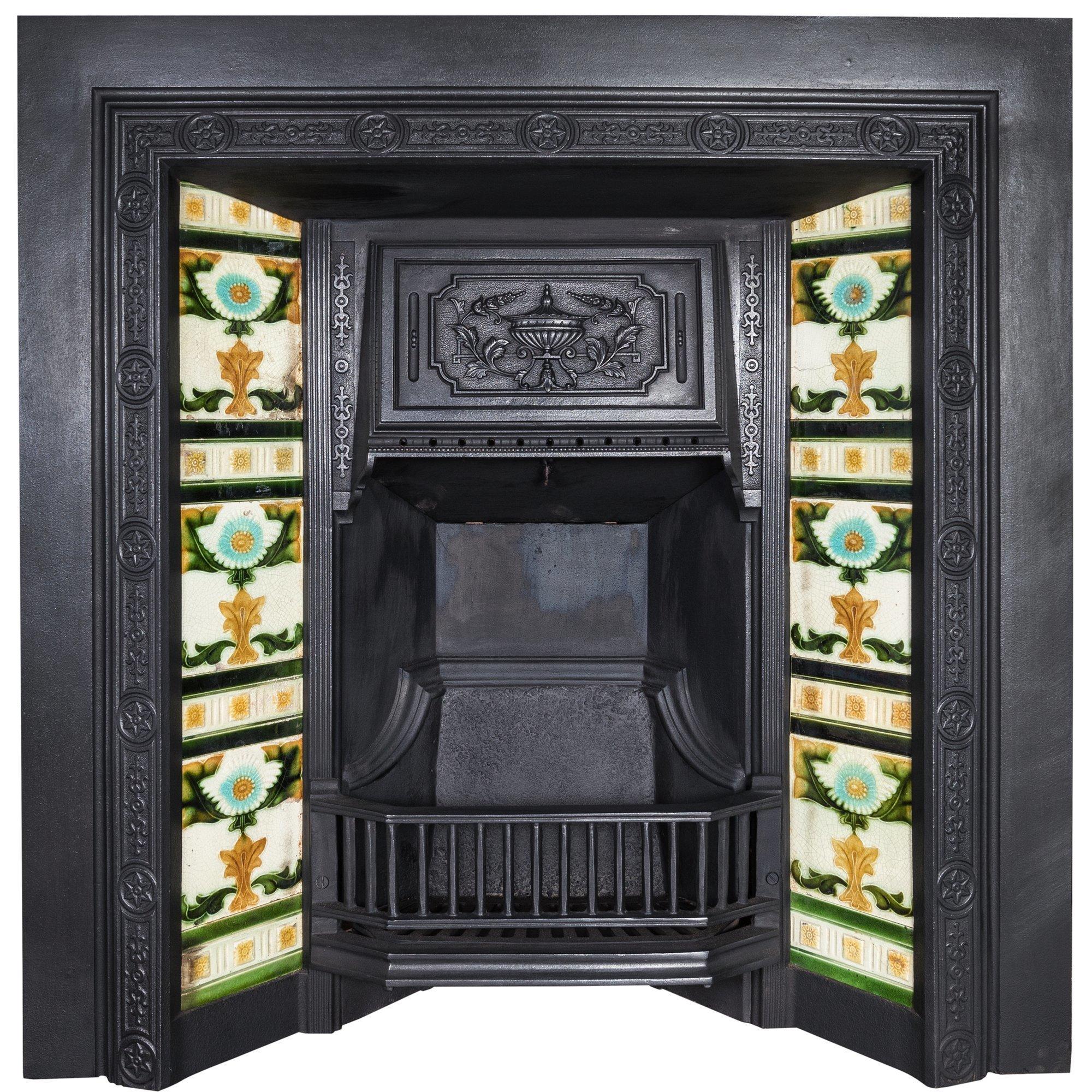 victorian antique fireplace original tiles
