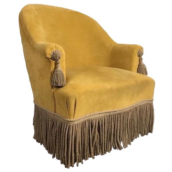 tassel vintage antiue victorian armchair yellow