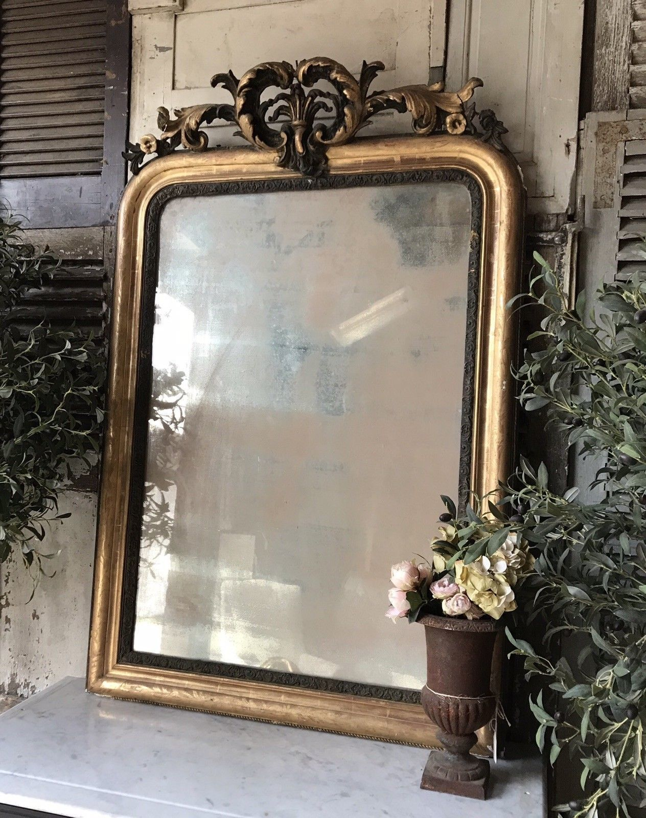 mirror brass victorian wall gilt