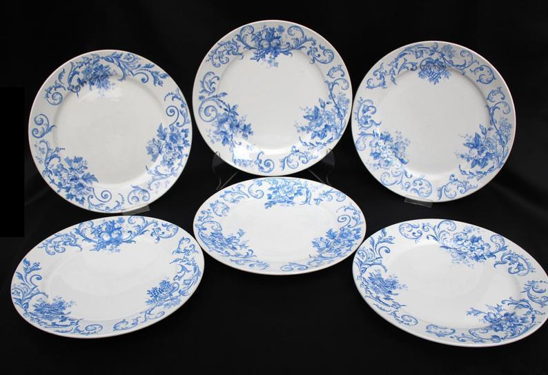 delft antique ceramic dinner plates