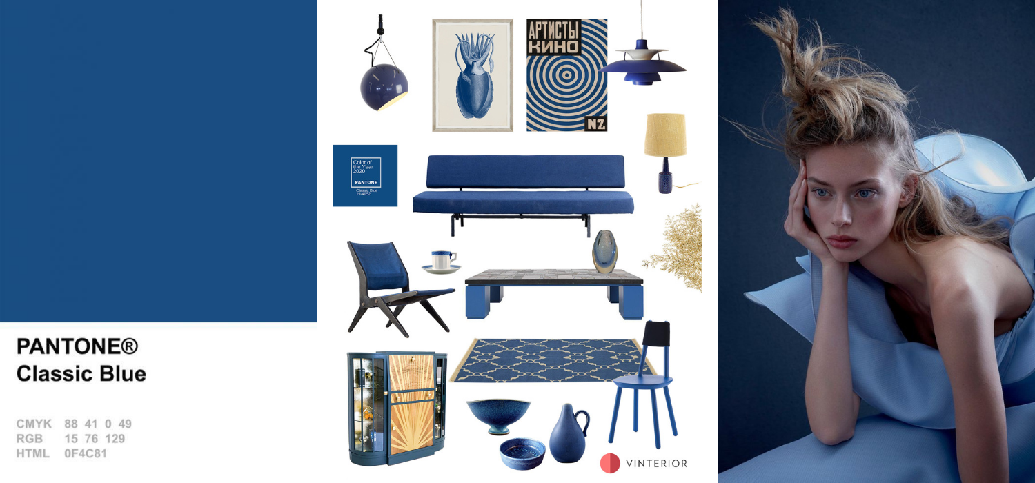Curious to find out more about this classic shade and how to use it in interiors? Read on for five colour matching ideas starting from Pantone Classic Blue and discover where to shop the look from the mood board below.