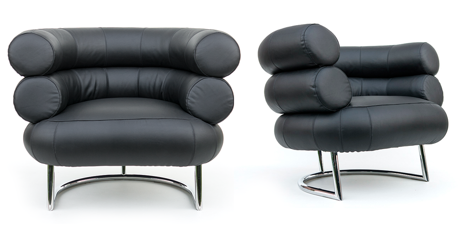 eileen grey bauhaus mid century armchairs leather