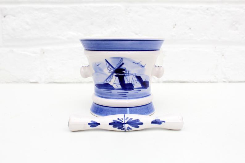 delft antique pottery pestle