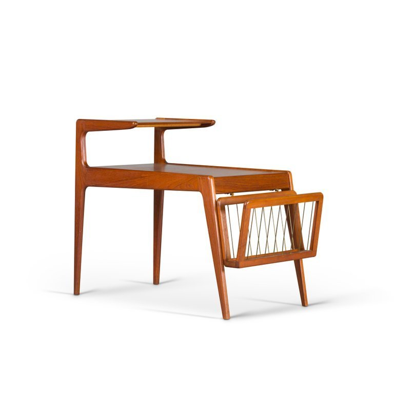 Danish teak side table with magazine rack