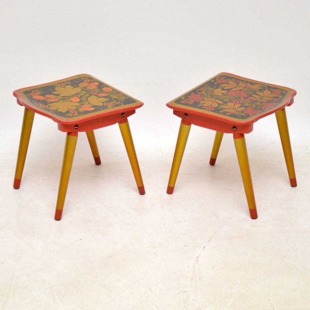 Russian Khokloma side tables