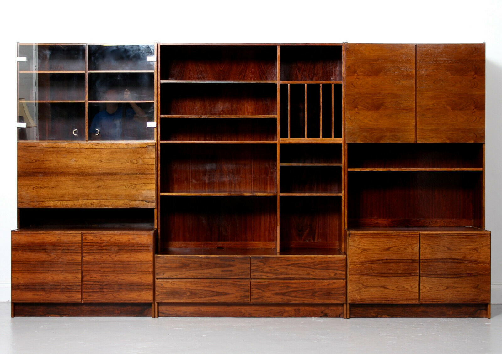 rosewood wall unit mid century storage