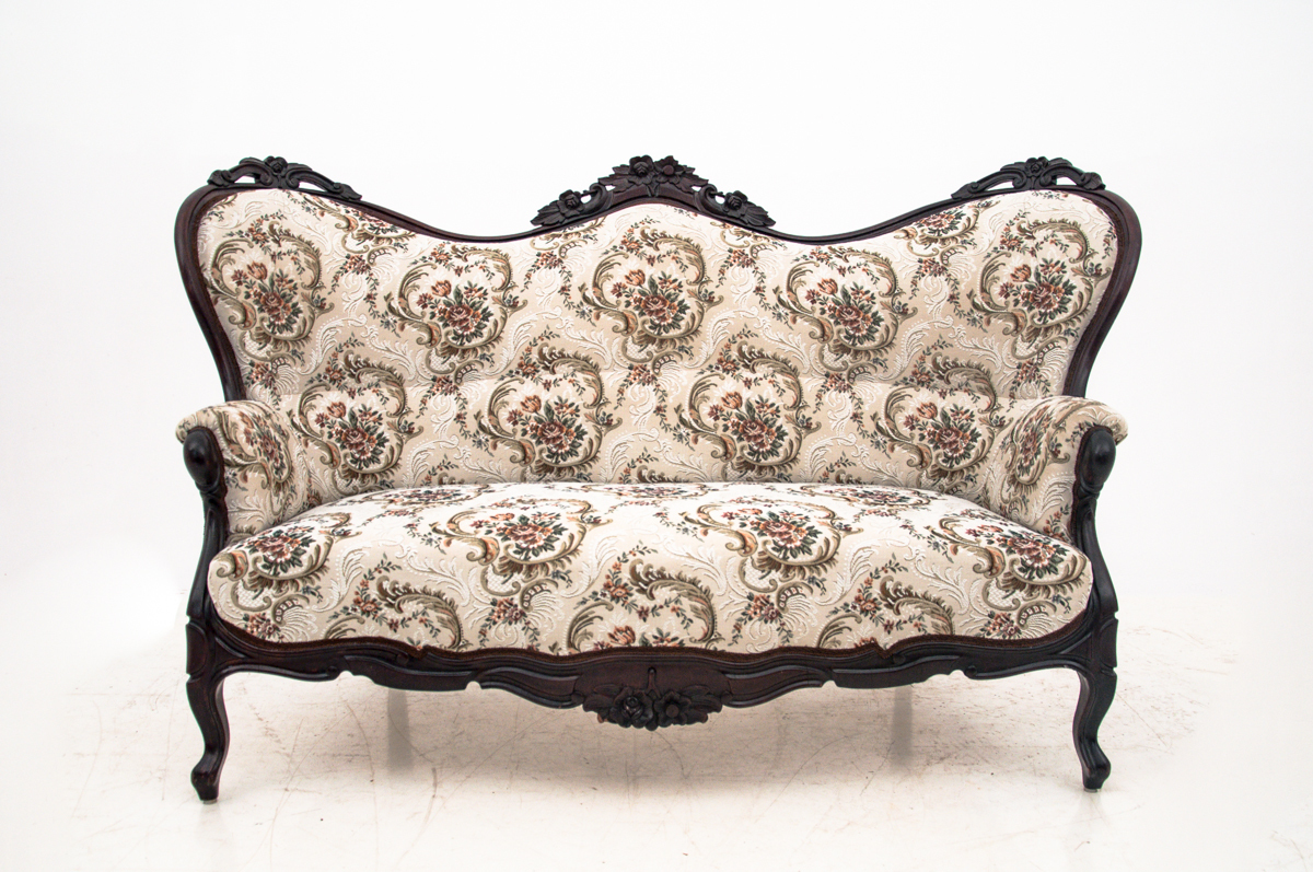 antique sofa camelback upholstered